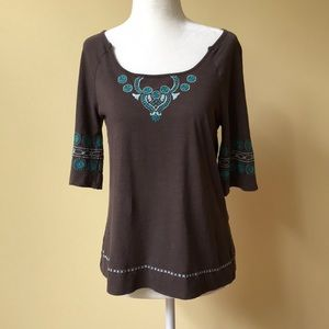 Anthropologie C. Keer Brown w Embroidered Pattern